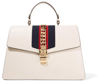 Gucci Sylvie Large Chain-embellished Leather Tote - White