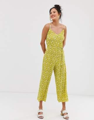 Miss Selfridge plisse cami jumpsuit in ditsy print