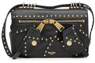 Moschino Embellished Leather Shoulder Bag