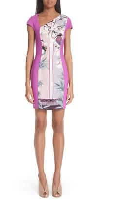 Versace Bicolor Asymmetrical Cady Sheath Dress