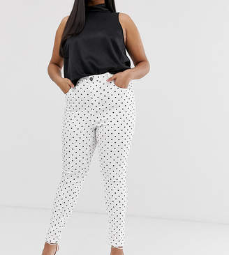 Chloé Simply Be high waist skinny jeans in white with black polka dots
