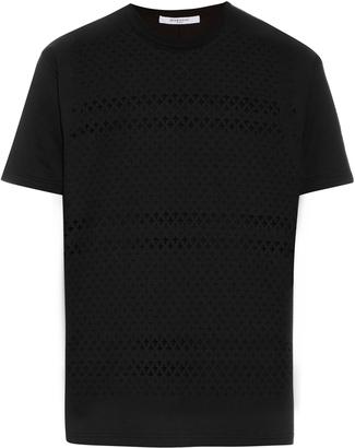 GIVENCHY Laser-cut cross cotton T-shirt $600 thestylecure.com