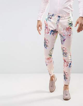 ASOS WEDDING Super Skinny Suit Pants With Nude Floral Print $64 thestylecure.com