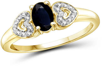 FINE JEWELRY Womens <2mm Diamond Accent Genuine Blue Sapphire Engagement Ring