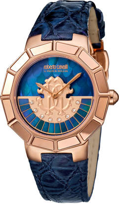 Roberto Cavalli by Franck Muller 37mm Men's Watch w/ Rotating Diamond Dial & Leather Strap, Blue