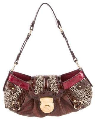 Etro Crocodile Ponyhair-Trimmed Shoulder Bag