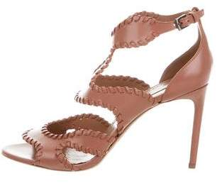 Alaia Leather Whipstitch Sandals w/ Tags