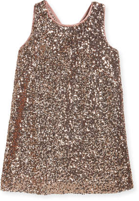 Milly Minis Sequin Bow-Back Shift Dress, Size 4-7