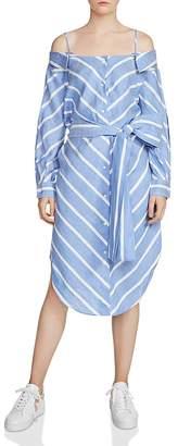 Maje Rulylle Cold-Shoulder Shirt Dress