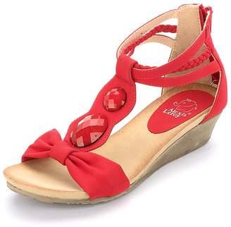 Leroy Alexis Women Artificial Diamond T-straps Wedge Heel Sandals