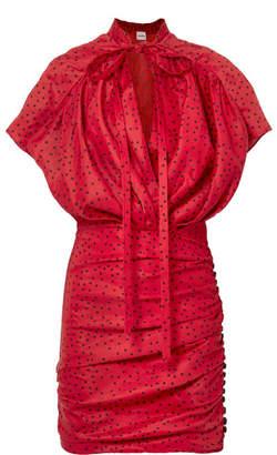 Magda Butrym Reno Polka-dot Linen-blend Mini Dress - Red