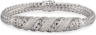 John Hardy Silver Pave Diamond Swirl Chain Bracelet