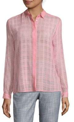 MSGM Grid-Print Button-Down Shirt