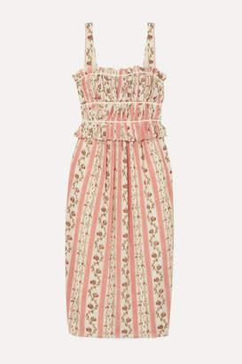 Brock Collection Grosgrain-trimmed Floral-print Silk-georgette Midi Dress - Pastel pink