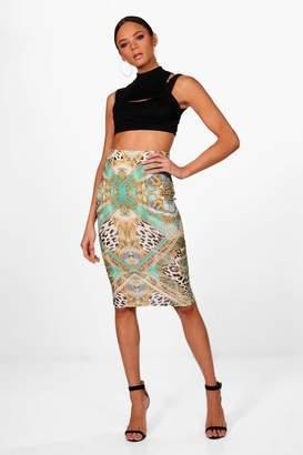 boohoo Anya Scarf Print Crepe Midi Skirt
