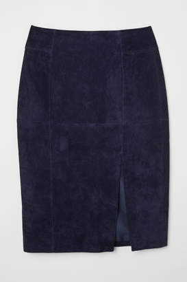 H&M Suede Pencil Skirt - Blue