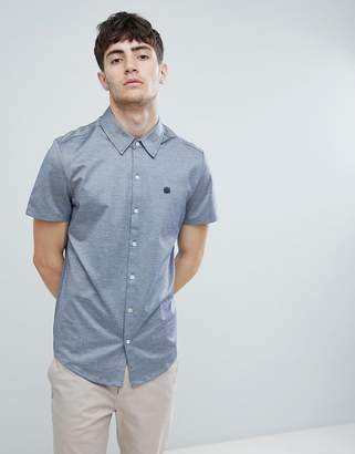 Aquascutum London Hodder short sleeve mercerised short sleeve shirt in navy