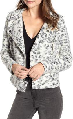 Cupcakes And Cashmere Leopard Fleece Moto Jacket
