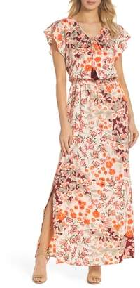 Adrianna Papell Floral Ruffle Sleeve Maxi Dress