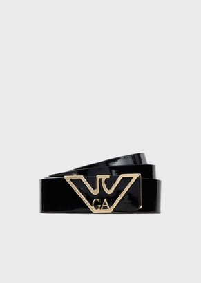 Emporio Armani Patent Leather Belt With Gold Tone Logo