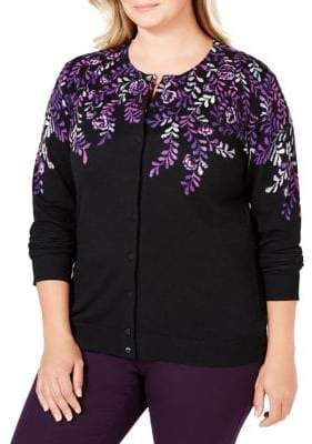Karen Scott Plus Floral-Print Buttoned Cardigan