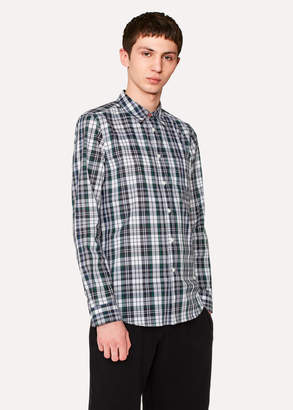 Paul Smith Men's Tailored-Fit Green Check Shirt With Contrasting Back