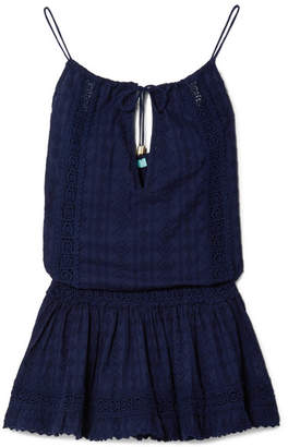 Melissa Odabash Chelsea Crochet-trimmed Embroidered Cotton-voile Mini Dress - Navy
