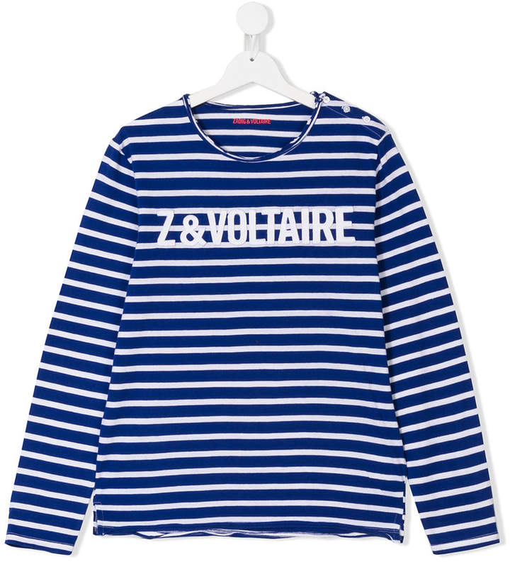 Zadig & Voltaire Kids logo striped top
