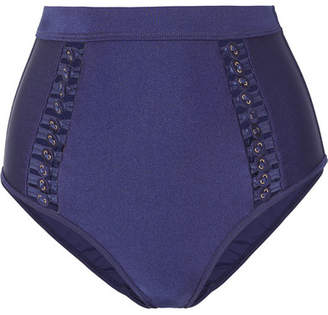Zimmermann Bowie Button-embellished Bikini Briefs - Navy