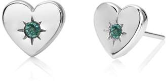 John Greed Candy Love Silver & Emerald Heart Stud Earrings