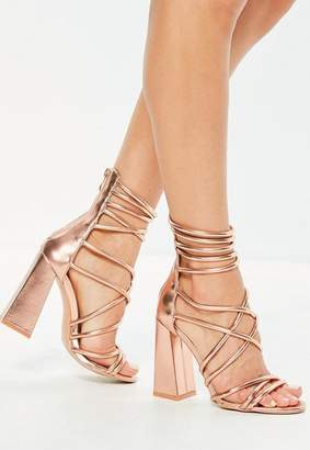 Missguided Gold Metallic Flared Block Heel Strappy Gladiator Sandals