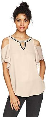 Amy Byer A. Byer Junior's Cold Shoulder Ruffle Sleeve Top with Neck Trim (Junior's)