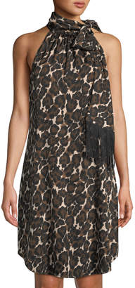 Trina Turk Iman Animal-Print Tie-Neck Georgette Dress