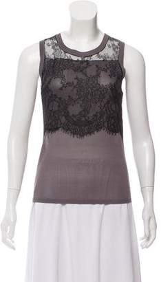 Nina Ricci Lace-Paneled Silk Top w/ Tags