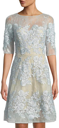 LM Collection Round-Neck Elbow-Sleeve Fit-and-Flare Floral-Embroidered Lace Dress