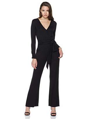 7008ae0c8ae4 Plumberry Women s V Neck Long Sleeve Wide Leg Jumpsuit Romper Pant with  Belt M