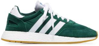 adidas green and white I-5923 mesh and suede leather sneakers