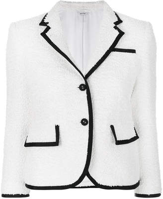 Thom Browne Classic Single Breasted Sport Coat With Grosgrain Tipping In White Woven Eyelash Tweed
