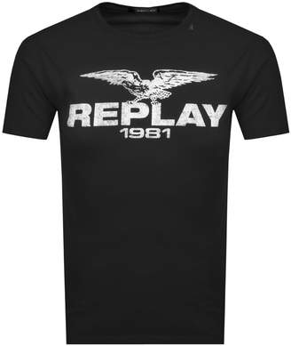 Replay Logo Crew Neck T Shirt Black