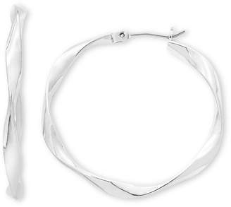 Liz Claiborne Silver-Tone, Ribbon Hoop Earrings