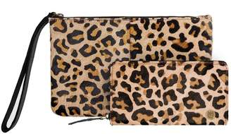 Mahi Leather Matching Clutch & Purse Gift Set In Leopard Print Pony Hair Leather