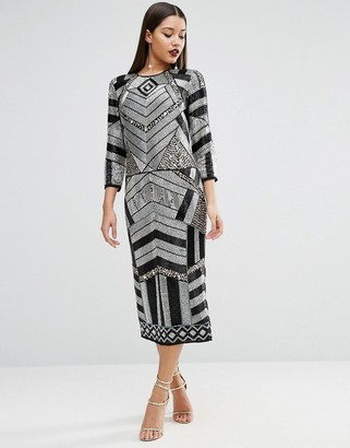 ASOS RED CARPET Extreme Embellished Long Sleeve Midi Sequin Dress $226 thestylecure.com