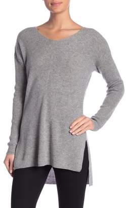 Catherine Malandrino V-Neck Ribbed Cashmere Tunic Sweater