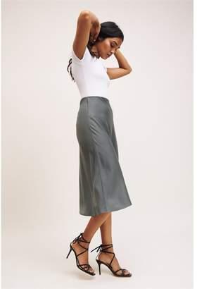 Dynamite Satin Midi Skirt Jasper Gray Green
