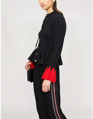 Alexander McQueen Ruffled two-tone wool-blend cardigan