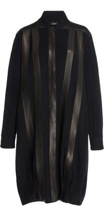 Akris Long Knit And Leather Cardigan