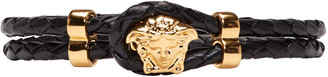 Versace Black Leather Medusa Bracelet $325 thestylecure.com