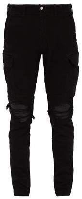 Amiri Mx1 Slim Leg Cotton Blend Cargo Trousers - Mens - Black