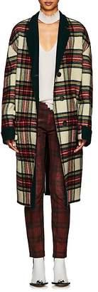 R 13 Women's Raw Cut Plaid Wool Coat