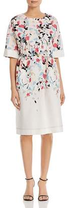 DKNY Belted Floral-Printed Button-Front Dress